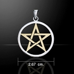 SILVER PENTACLE WTH GOLD ACCENT OPEN 1