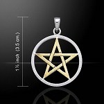 Vermeil Pentacle W/Sandbrushed Circle