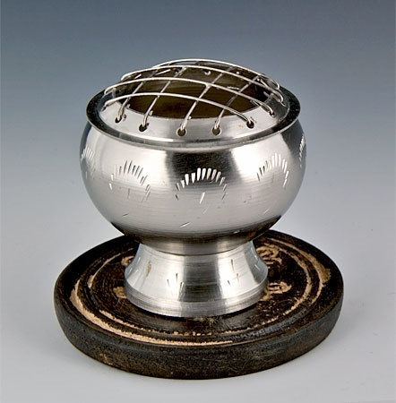 Brass Screen Charcoal Burner Pewter