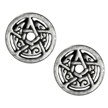 CRESCENT MOON PENTACLE STUD with CIRCLE