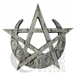 CRESCENT MOON PENTACLE PLAQUE- SILVER