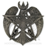 CRESCENT RAVEN PENTACLE PLAQUE - STONE (LG)