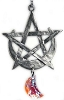 HANGING SCULPTURE, PENTACLE WITH MOON CRYSTAL (Hanging pewter sculpture with crystal)