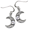 Sterling Silver Horned Moon Crescent Earrings with Rainbow Moonstone