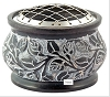Floral Carved Natural Stone Screen Charcoal Burner in Brown - 4