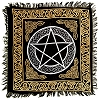 Pentacle Altar Cloth in Gold and Silver with Fringe - 18