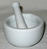 MORTAR/PESTLE WHITE SM