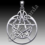 CRESCENT MOON PENTACLE W/CIRCLE NO STONE