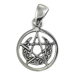 CRESCENT MOON PENTACLE W/CIRCLE (TINY)
