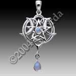 Small Heart Pentacle Pendant with Rainbow Moonstone