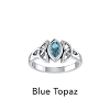 CELTIC TRINITY RING WITH BLUE TOPAZ