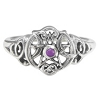HEART PENTACLE RING WITH AMETHYST