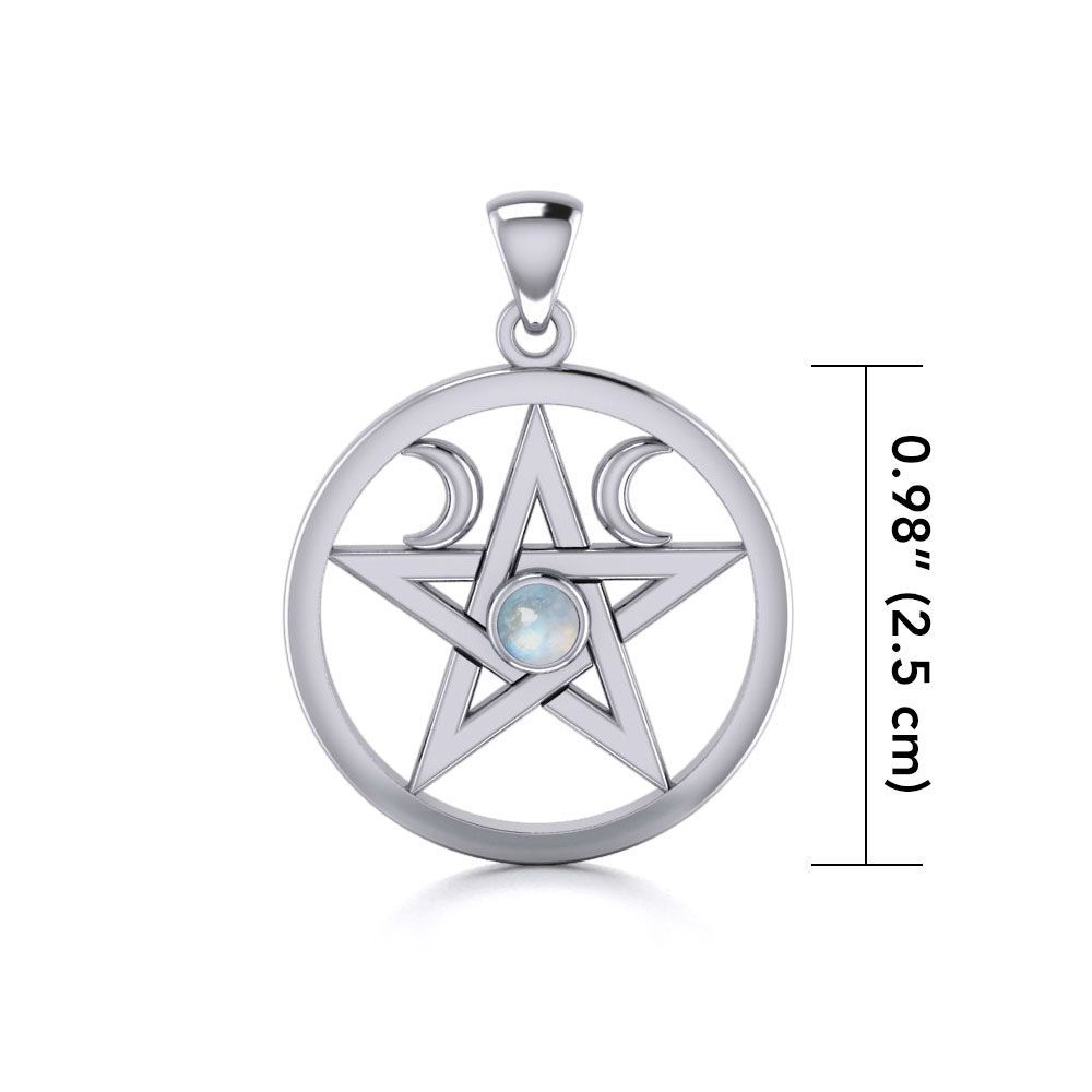 PENTACLE WITH CRESCENTS -RAINBOW MOONSTONE