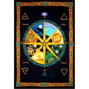Cotton Single Tapestry Pagan Wheel of the Year