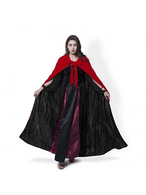 Red velvet Cloak Black Satin Lining