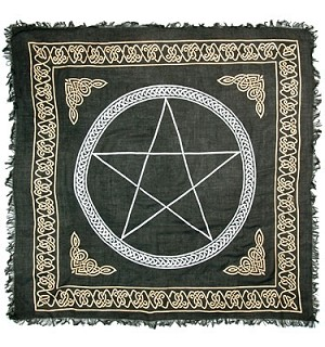 "PENTACLE IN GOLD & SILVER ALTAR CLOTH - 36"" X 36"""